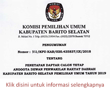 Pengumuman KPU Kabupaten Barito Selatan