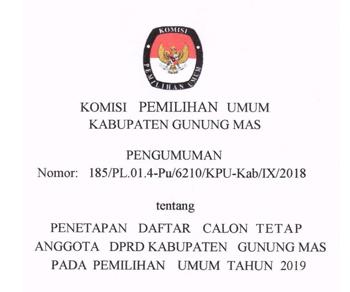 Pengumuman KPU Kabupaten Gunung Mas