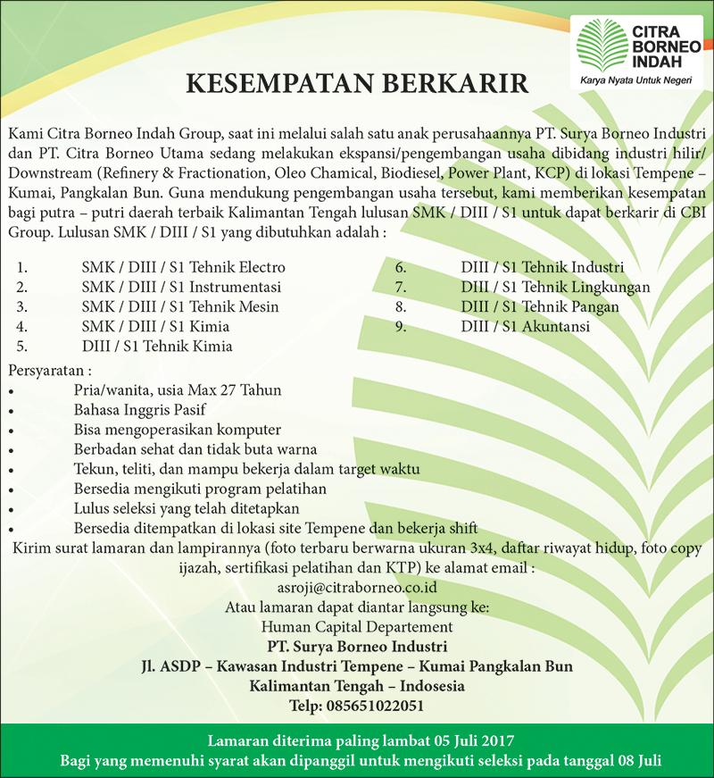 Lowongan Kerja Citra Borneo Indah, Citra Borneo Utama, Surya Borneo Industri