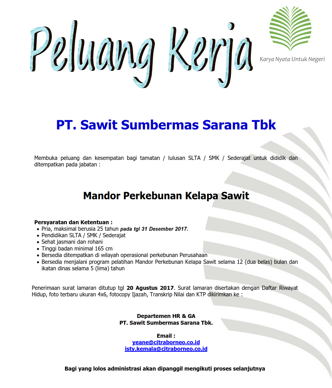 Lowongan Kerja PT. Sawit Sumbermas Sarana Tbk, CBI Group