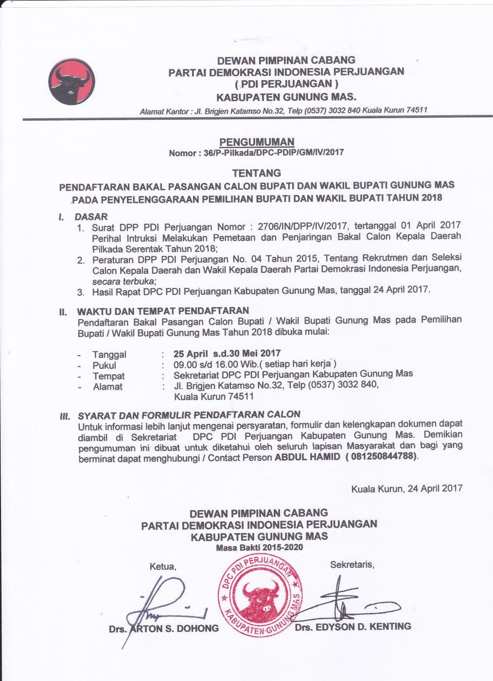 Pendaftaran Calon Bupati Gunung Mas