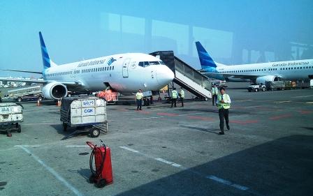 Menteri Perhubungan Budi Karya Sumadi melakukan ramp check atau inspeksi pesawat di Bandara Soekarno-Hatta, menjelang libur Natal dan Tahun Baru 2019. DOK BORNEONEWS