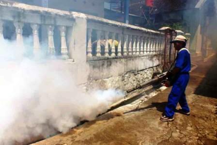 FOGGING: Seorang petugas puskesmas tengah melakukan pengasapan (fogging), beberapa waktu lalu. Sementara itu, anggota DPRD Palangka Raya Mukarramah meminta pihak Dinkes untuk tidak mempersulit permintaan warga untuk dilakukan fogging. Di sisi lain, Dinkes