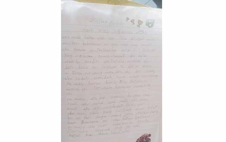 Surat sang anak untuk Tuhan agar tidak menjadi budak seks ayahnya. BORNEONEWS/CECEP HERDI