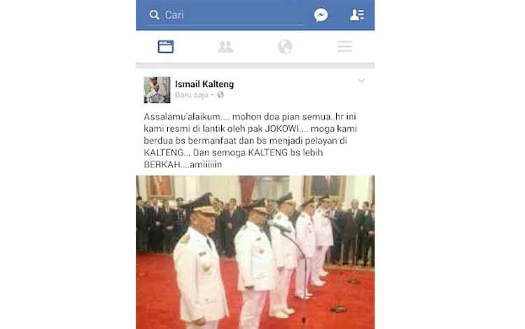 Melalui akun Facebook, Wakil Gubernur Kalimantan Tengah, Habib Said Ismail meminta dukungan seluruh elemen masyarakat untuk mendoakannya bersama Sugianto Sabran dalam kepemimpinannya lima tahun ke depan. ISTIMEWA