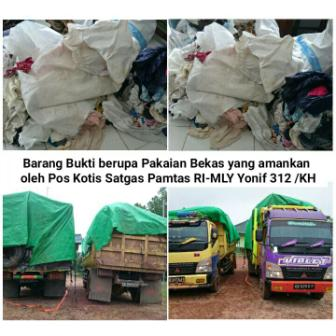 Dua truk Pakaian Bekas dari Malaysia. (BORNEO/DOK)