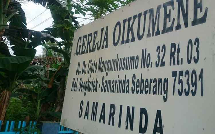 Ilustrasi: Gereja Oikumene, Jalan Dr Cipto Mangunkusumo, Samarinda, Kalimantan Timur. Sebuah bom molotov diledakkan di depan gereja ini, Minggu (13/11/2016) pagi. BORNEONEWS/TEMPO.COM/ISTIMEWA