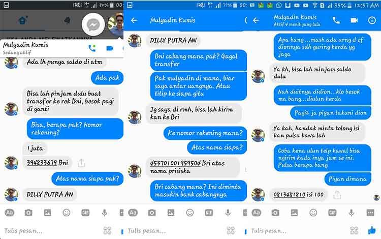 Isi pesan peretas dengan calon korban. Kini mulai ramai diperbincangkan di jejaring sosial. BORNEONEWS/FAHRUDDIN