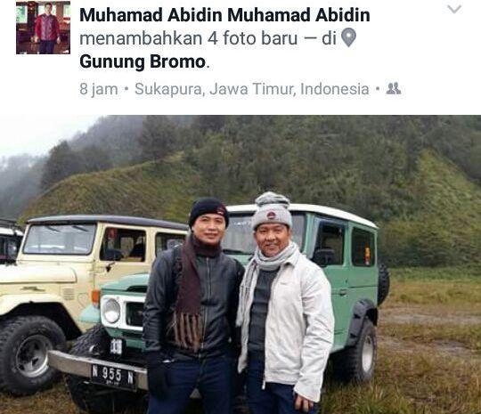 Walikota Palangka Raya, Riban Satia bersama M Abidin foto saat di kaki Gunung Bromo.