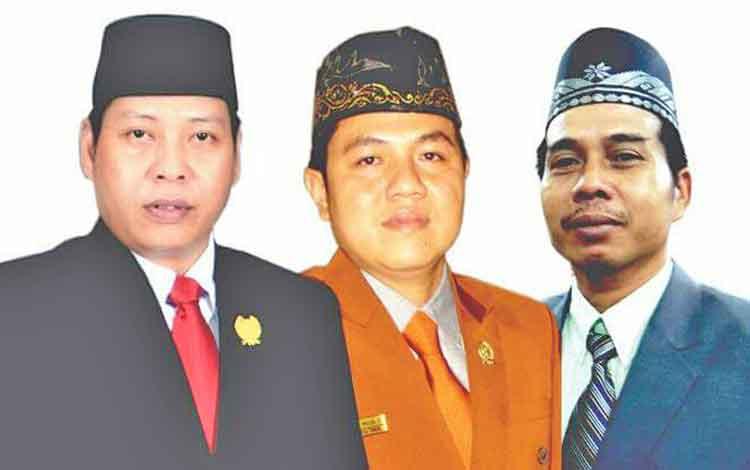 Dari kiri, Ketua DPRD Bartim Broelalano, Wakil Ketua I DPRD Bartim Ariantho S Muller, dan Wakil Ketua II DPRD Bartim Raran.