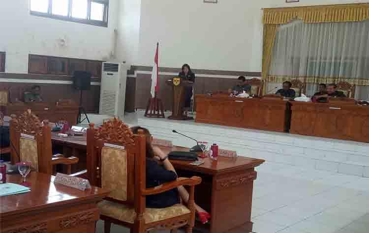 Juru Bicara Fraksi Demokrat Ristawati T Alang saat menyampaikan pandangan umum fraksinya