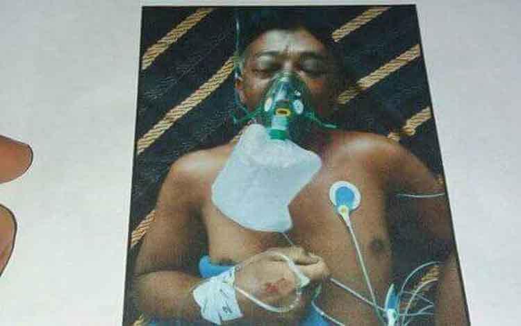 Korban ketika menjalani perawatan sebelum meninggal dunia.