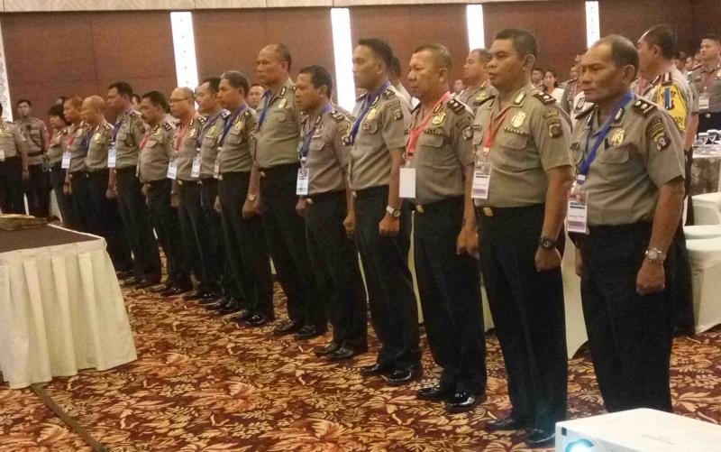 Seluruh Kabag Sumda Polres jajaran Polda Kalteng mengucapkan kesepakatan kinerja, Rabu (14/3/2018).