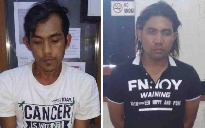 (Dari kiri) tersangka Rian dan Taufiq saat diamankan di Polres Kotim