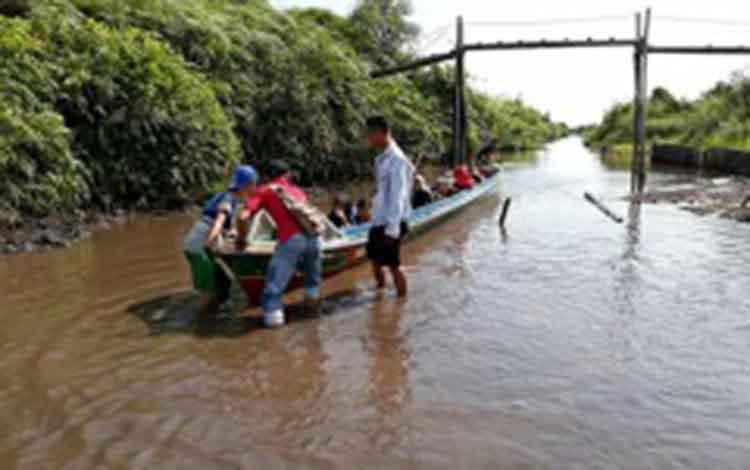 Begini kondisi Kerukan Hantipan, Kabupaten Katingan, yang mengalami pendangkalan. Di kerukan inilah warga Jaya Makmur Katingan Satu meninggal dunia saat hendak dibawa ke Kota Sampit untuk berobat, Kamis (9/8/2018).
