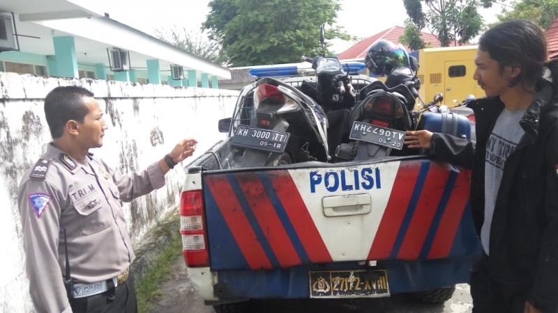 Barang bukti motor yang diamankan oleh Polantas Polres Palangka Raya.