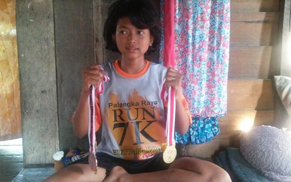 Rita Purnamasari, atlet berprestasi dari keluarga tidak mampu di Kuala Pembuang, Kabupaten Seruyan.