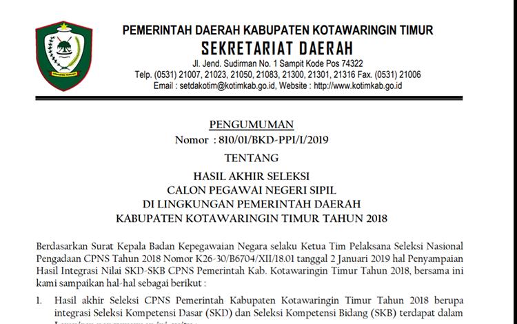 Surat pengumuman hasil akhir seleksi calon pegawai negeri sipil di lingkungan Pemerintah Kabupaten Kotim 2018.