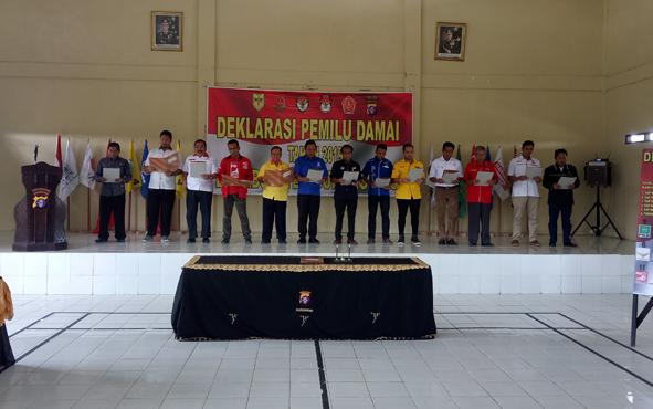 Deklarasi pemilu damai di Kabupaten Gunung Mas, Kamis (10/1/2019).
