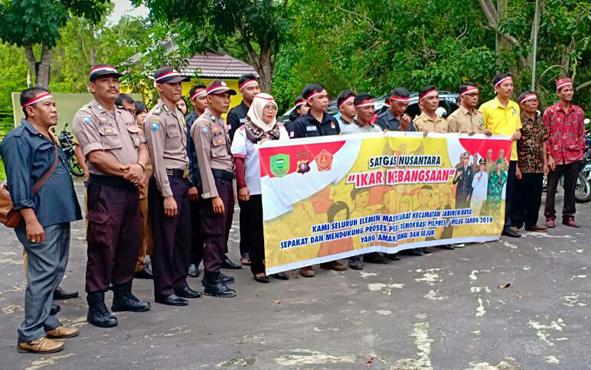 Deklarasi damai jelang pilpres dan pileg 2019 di halaman kantor Kecamatan Jabiren Raya, Kabupaten Pulang Pisau, Senin (21/1/201).