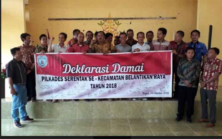 Peserta Pilkades Serentak tahun 2018 di Kecamatan Belantikan Raya saat deklarasi Pilkades Damai, beberapa waktu lalu.