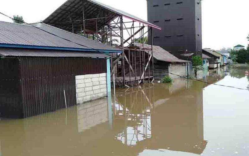 Banjir di Desa Samba Bakumpai, Senin (25/2/2019).