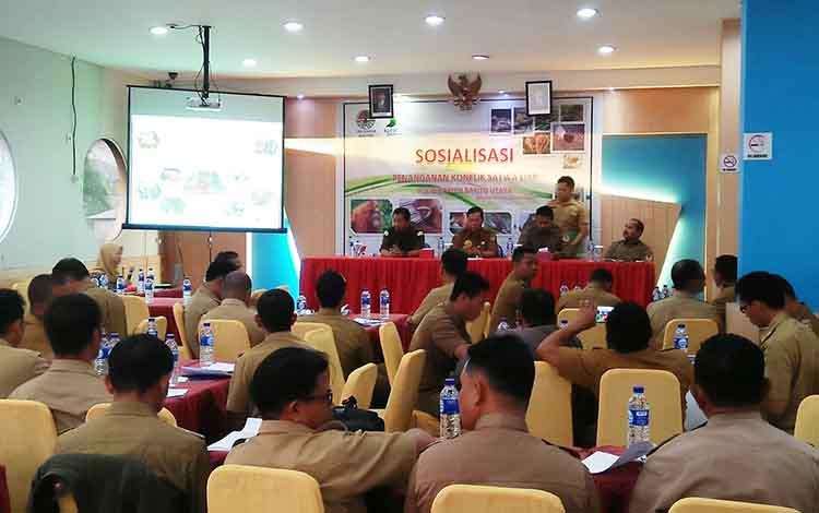 Sosialisasi penanganan konflik satwa liar di Muara Teweh, Selasa (26/3/2019)