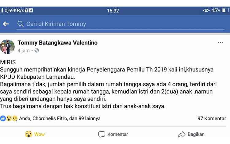 Postingan Ketua DPRD Lamandau di FB pribadinya