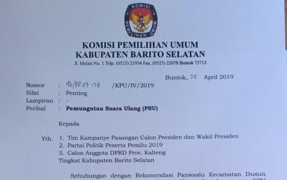 Surat PSU dari KPU Barsel.