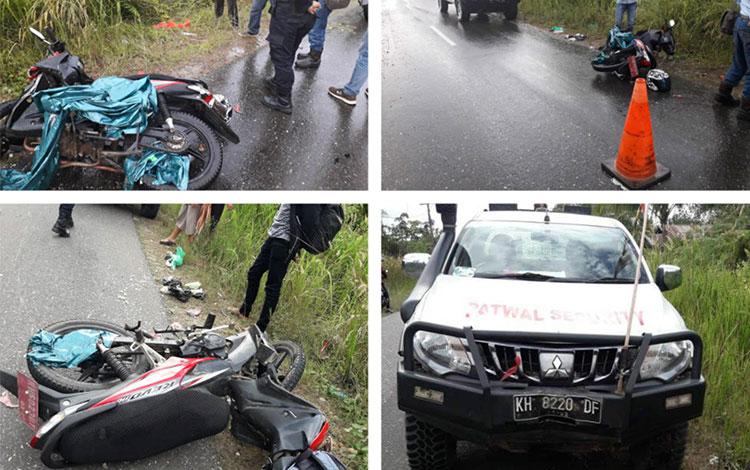Kecelakaan lalulintas melibatkan mobil Ranger KH 8220 DF dengan sepeda motor Supra KH 6023 DY.