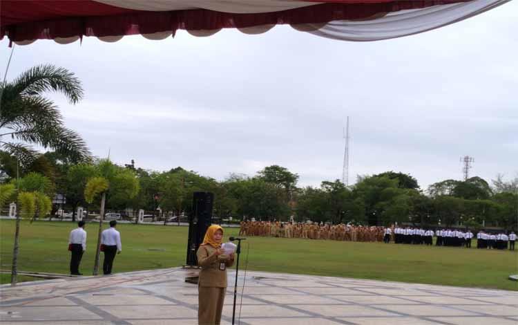 Pembukaan pelatihan dasar CPNS golongan III dan II di halaman kantor Gubernur Kalteng, Senin 29 April 2019