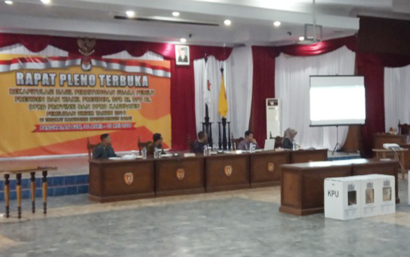 Rapat Pleno Terbuka Rekapitulasi Hasil Penghitungan Suara Pemilu 17 April di Aula Kantor DPRD Kobar, Selasa, 30 April 2019.