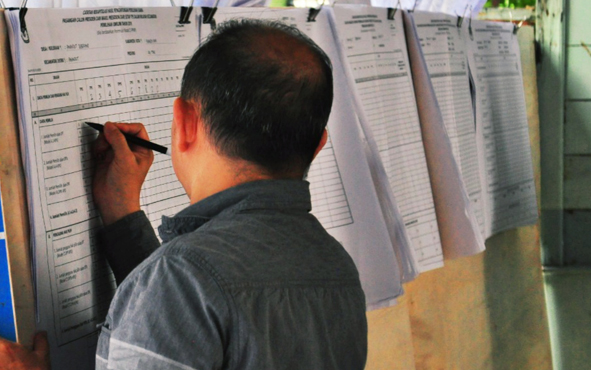 Proses rekapitulasi suara di tingkat PPK di Kota Palangka Raya.