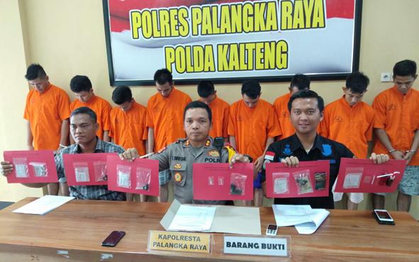 Polres Palangka Raya menggelar rilis penangkapan kasus narkoba, beberapa waktu lalu.