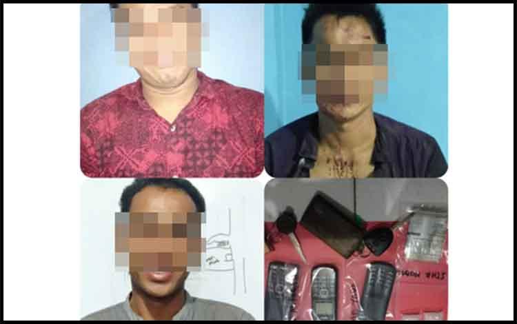 Tiga tersangka kasus sabu yang diciduk personel Satres Narkoba Polres Barito Timur.