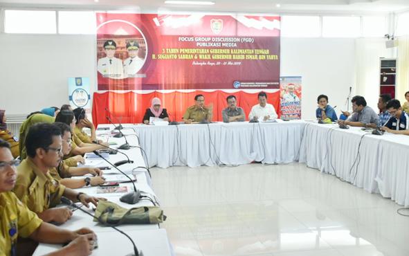 SuasanaFocus Group Discussion, Publikasi Media Pencapaian Pemerintah Provinsi Kalimantan Tengah selama 3 Tahun di Aula Bapeddalitbang, Selasa, 21 Mei 2019.