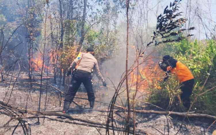 Petugas menangani kebakaran hutan dan lahan di Kota Palangka Raya tahun lalu.