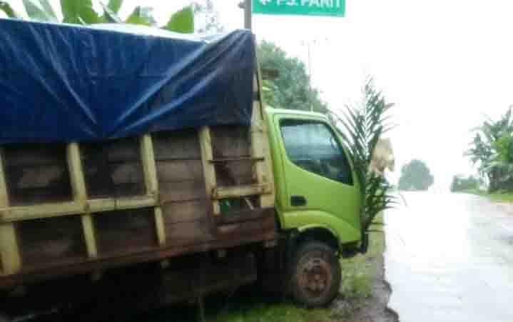 Truk yang terlibat kecelakaan di Desa Bukit Raya, Kecamatan Cempaga Hulu.