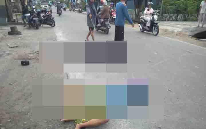 Lokasi kecelakaan tunggal di Jalan Kartini, Kecamatan Baamang, Sampit.