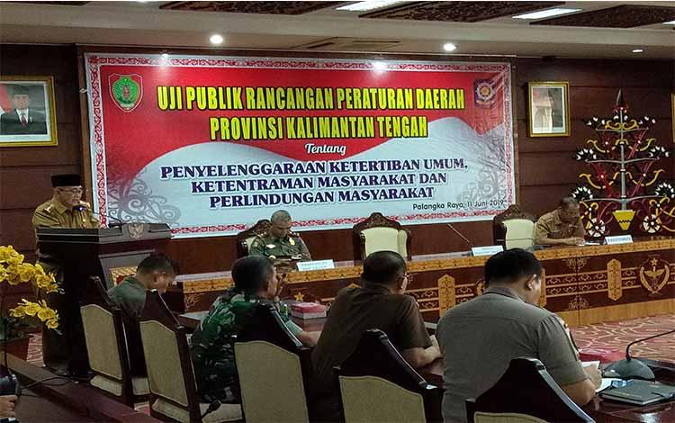 Pemerintah Provinsi Kalimantan Tengah menggelar uji publik Rancangan Peraturan Daerah tentang Penyelenggaraan Penertiban Umum, Ketentraman Masyarakat dan Perlindungan Masyarakat