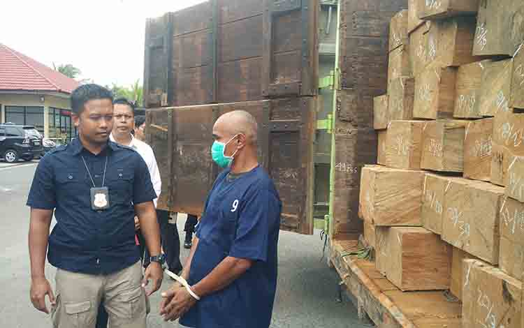 Kasat Reskrim Polres Kotim AKP Achmat Budi Martono saat menginterogasi sopir truk pengangkut kayu ilegal, kemaren.