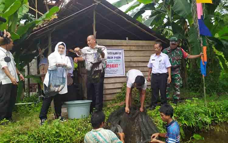 Wakil Wali Kota Palangka Raya, Umi Mastikah saat ikut memanen ikan  di Kelurahan Tumbang Tahai, Kecamatan Bukit Batu, pada Rabu, 3 Juli 2019.