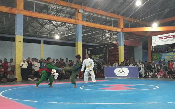Pesilat cilik beraksi di gelanggang pertandingan pada kejuaraan HUT ke-71 IPSI, di Pangkalan Bun, Jumat, 5 Juli 2019.