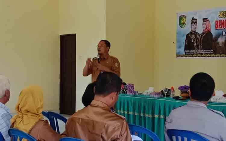 Sosialisasi pencegahan kebakaran hutan dan lahan di Aula Kelurahan Langkai, Senin, 8 Juli 2019.