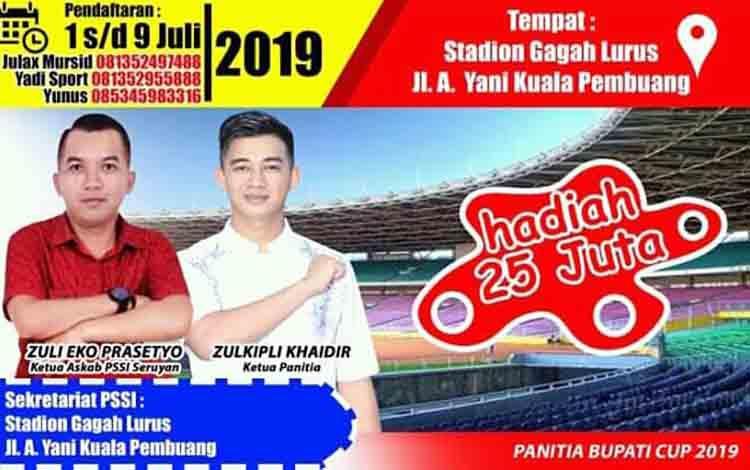 Turnamen Sepak Bola Bupati CUP 2019 di Seruyan.
