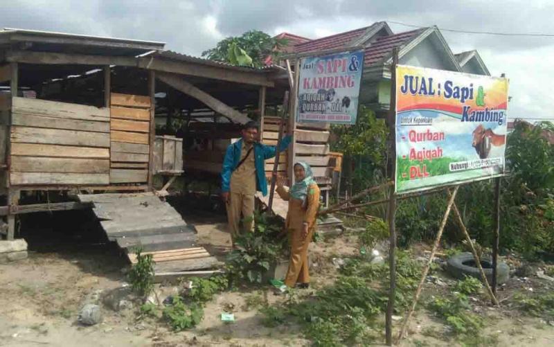 Petugas DKPP mengunjungi pedagang hewan ternak.