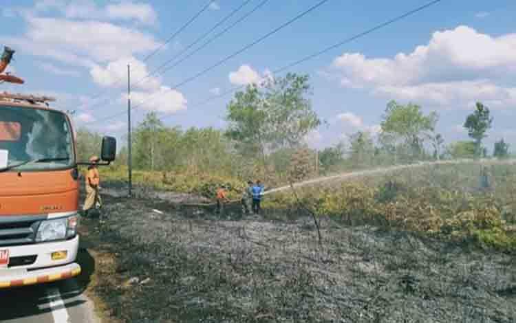 Petugas berusaha memadamkan kebakaran lahan di tepi Jalan Trans Kalimantan antara Bukit Batu - Hampangen.