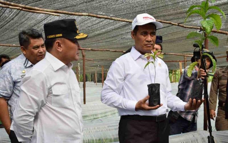 Gubernur Kalteng Sugianto Sabran bersama Menteri Pertanian, Andi Amran Sulaiman dalam acara peluncuran BUN500 juta batang di Kelurahan Tumbang Tahai, Kamis, 18 Juli 2019.