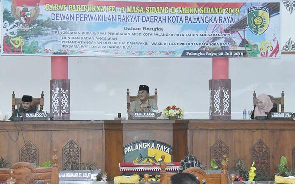 Rapat Paripurna DPRD Kota Palangka Raya, Kamis, 25 Juli 2019.
