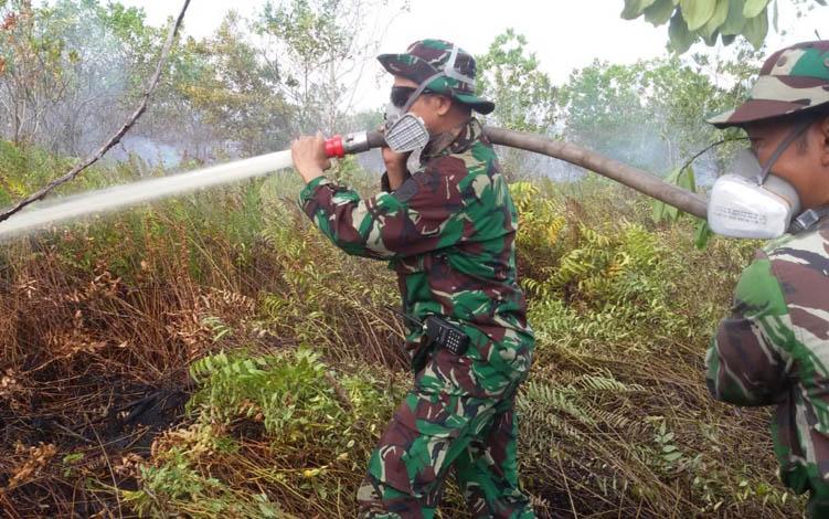Kepala Posko Tim Terpadu Karhutla Kabupaten Pulang Pisau Mayor Inf Mulyadi saat turun memadamkan karhutla di Desa Tanjung Taruna, Kecamatan Jabiren Raya, Jumat, 26 Juli 2019.